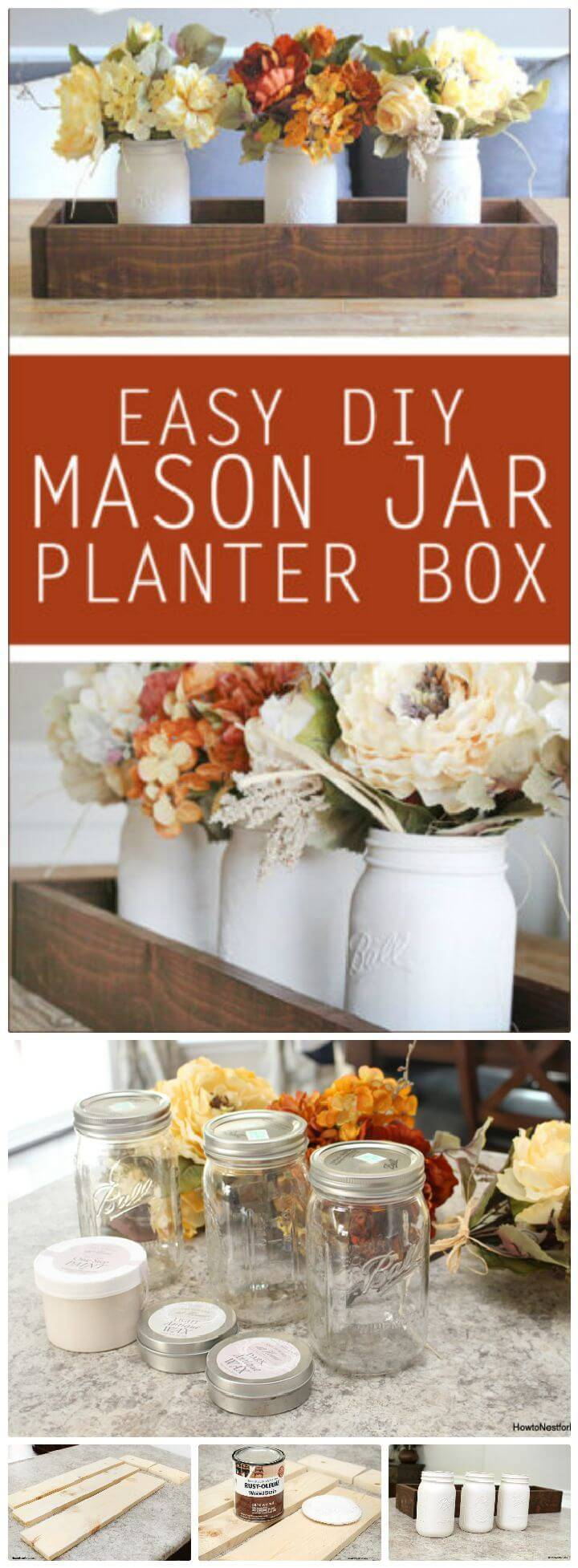 DIY Mason Jar Planter Box Centerpiece
