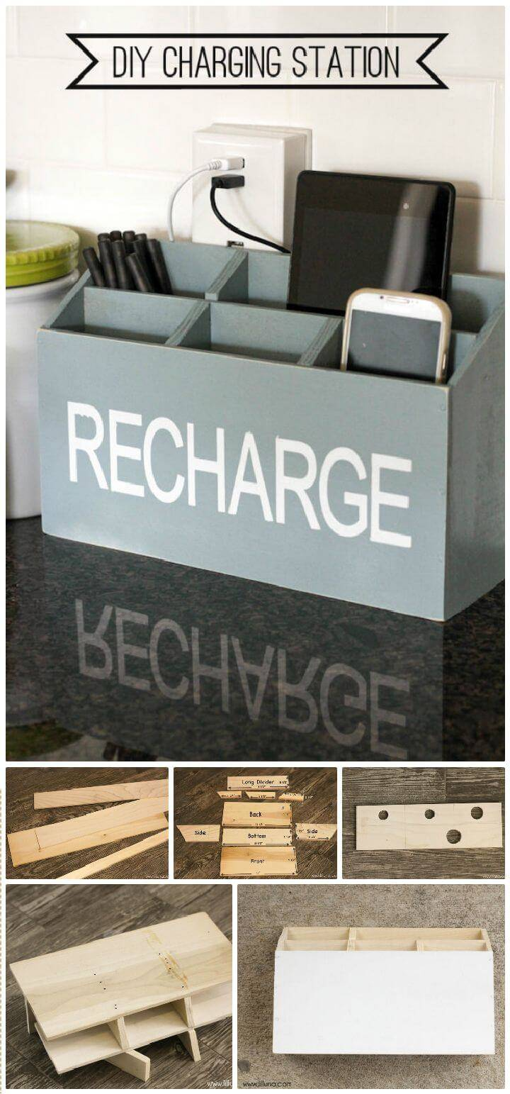 DIY Multi Small Pockets Wooden Box Charging Station