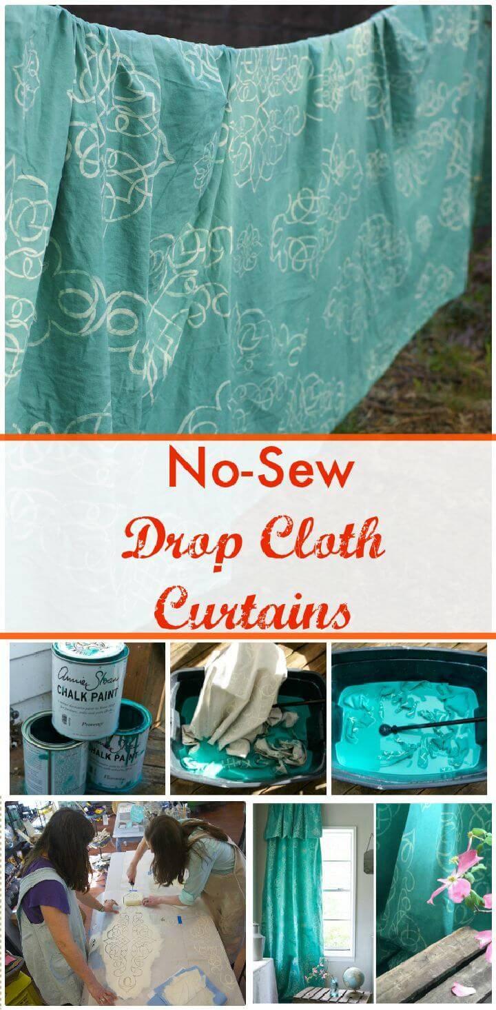 DIY No-Sew Drop Cloth Curtains