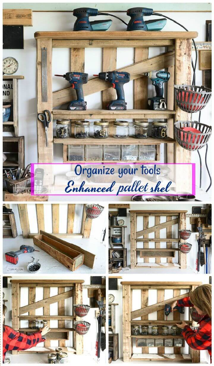 DIY Organize Your Tools On An Enhanced Pallet Shelf