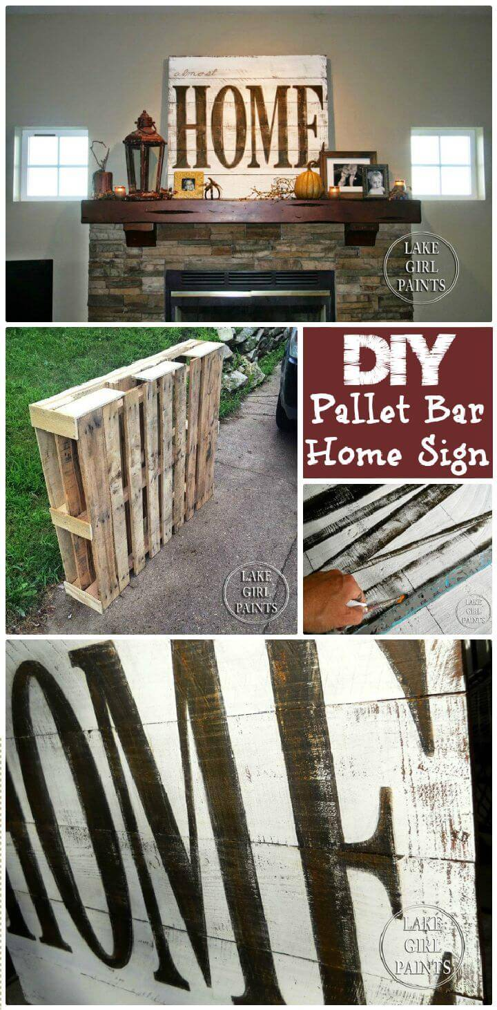 DIY Pallet Mini Bar And Almost HOME Sign