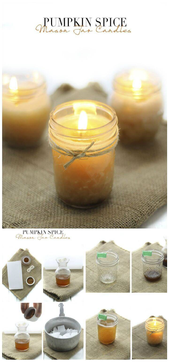 DIY Pumpkin Spice Mason Jar Candles