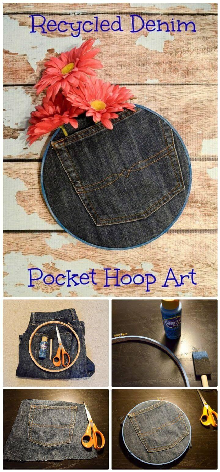 DIY Recycled Denim Pocket Hoop Art