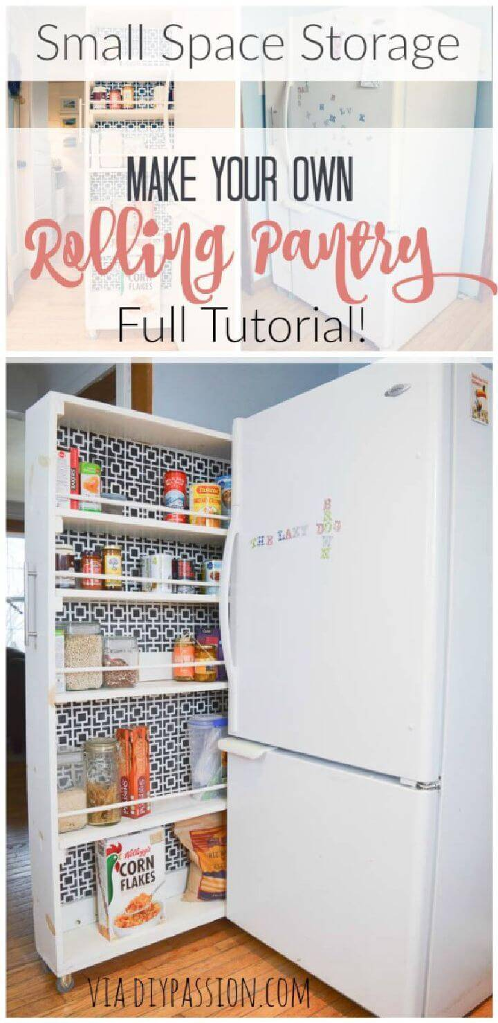 DIY Space Saving Rolling Pantry