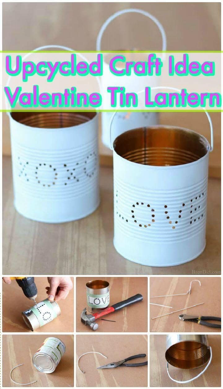 DIY Upcycled Craft Idea Valentine Tin Lantern