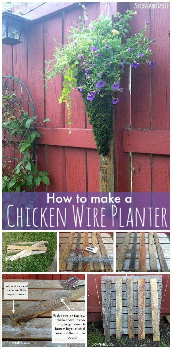 DIY Vertical Chicken Wire Planter On Pallet Wood