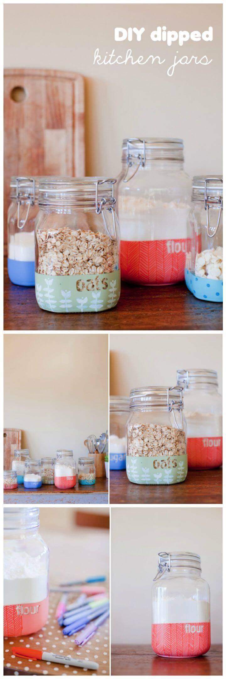 DIY dipped kitchen jars