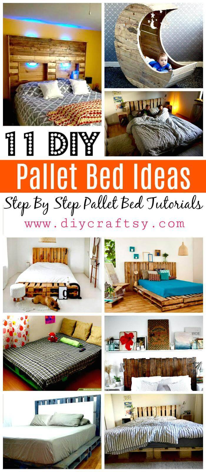 11 Pallet Bed Ideas - Step By Step Pallet Bed Frame Tutorials - Pallet Furniture - Pallet Projects - DIY Pallet Ideas