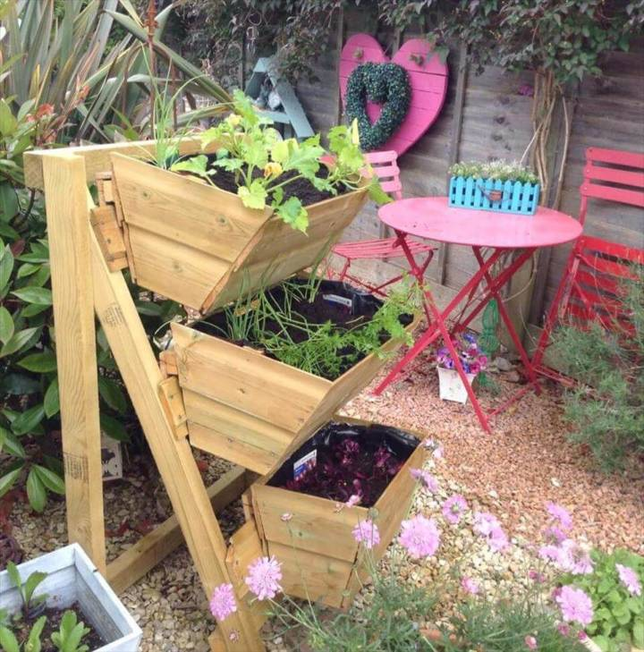 recycled pallet 3 tiered planter