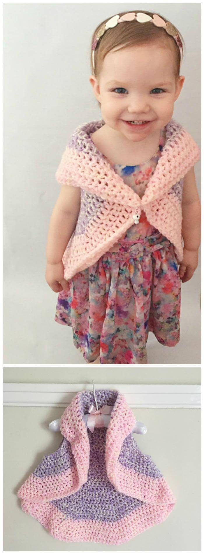 Crochet Bella Circle Waistcoat - Free Vest Circular Pattern for Baby