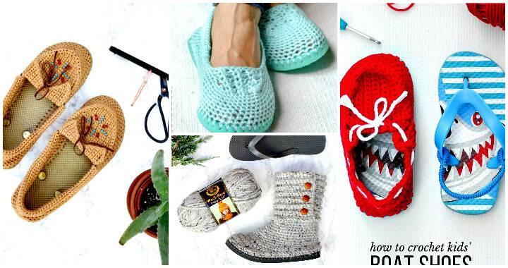 22 Crochet Slippers / Boot / Shoes / Flip Flops – Free Patterns