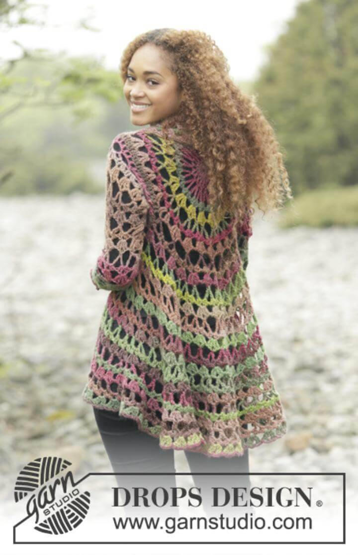 Crochet Drops Jacket - Free Vest Circular Patterns