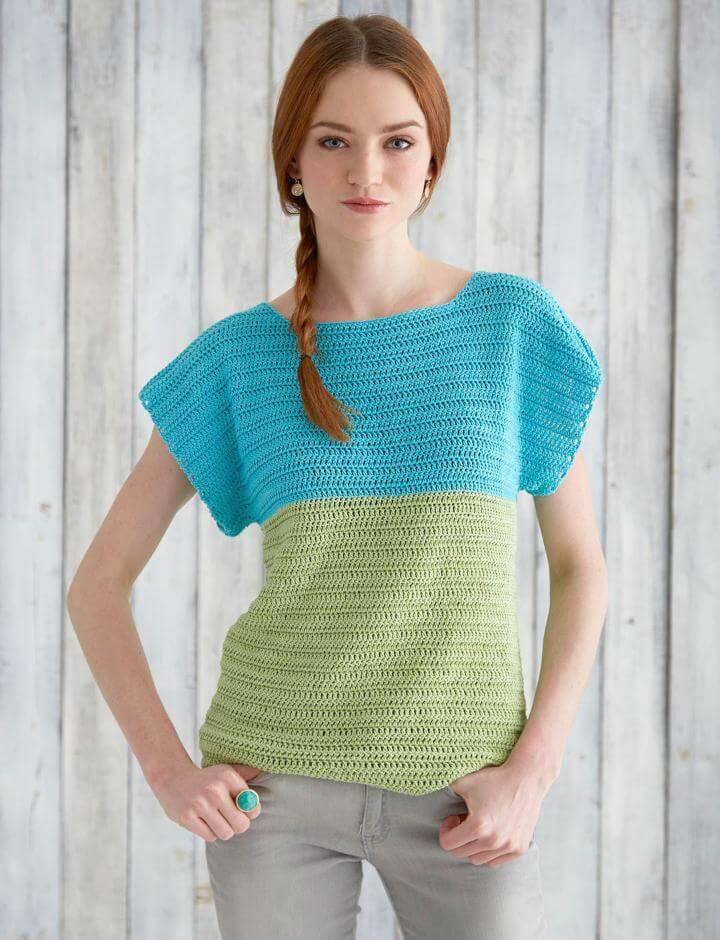 Free Crochet Patons Colorblock Top Pattern