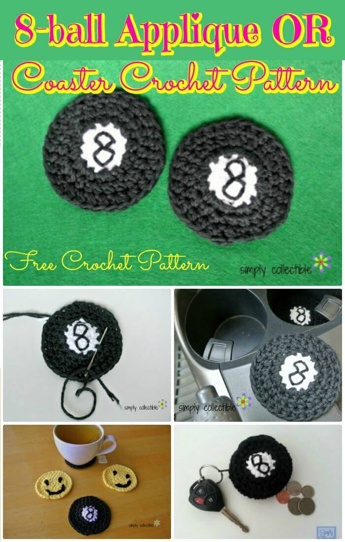 DIY 8-ball Applique or Coaster Crochet Pattern, Free crochet coasters tutorials step-by-step!!