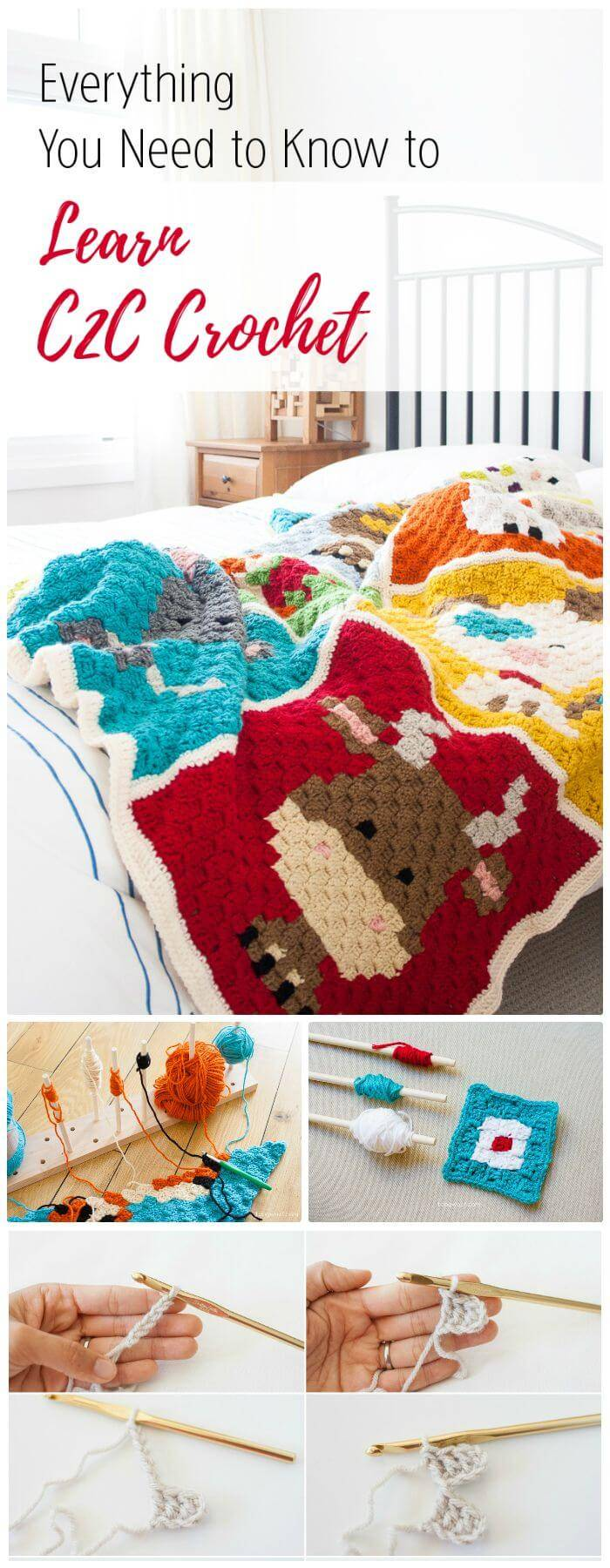 DIY C2C Crochet Everything You Need To Know, instructions for c2c crocheting!