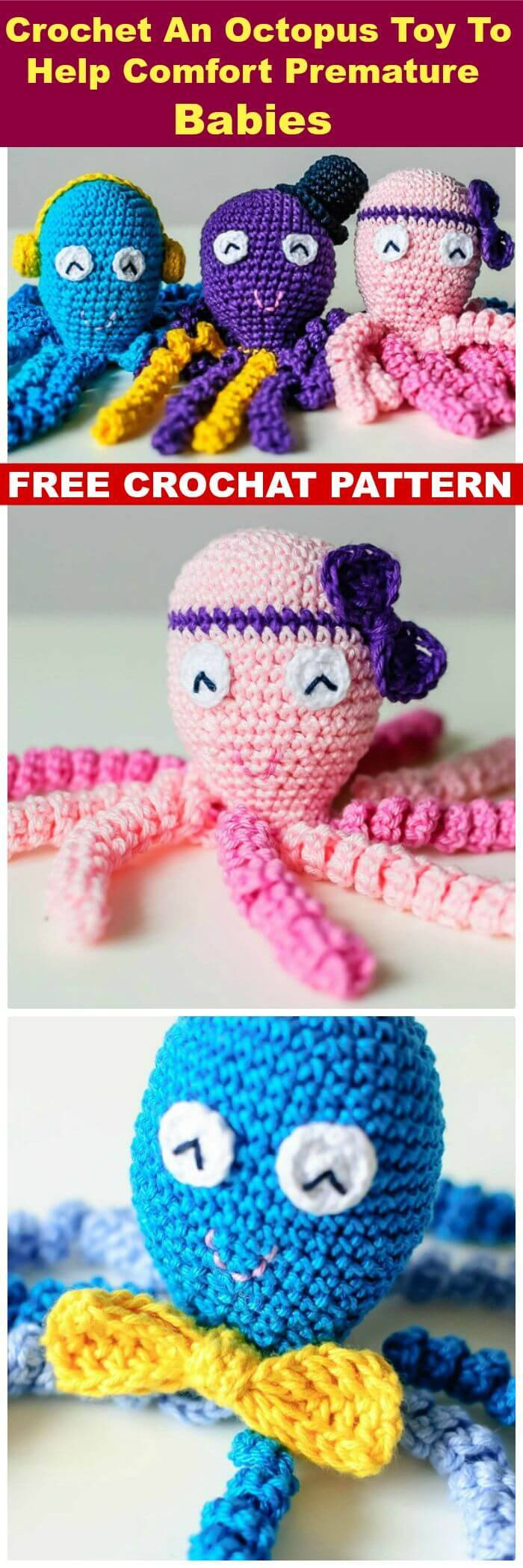 DIY Crochet An Octopus Toy To Help Comfort Premature Babies, free crochet jellyfish patterns
