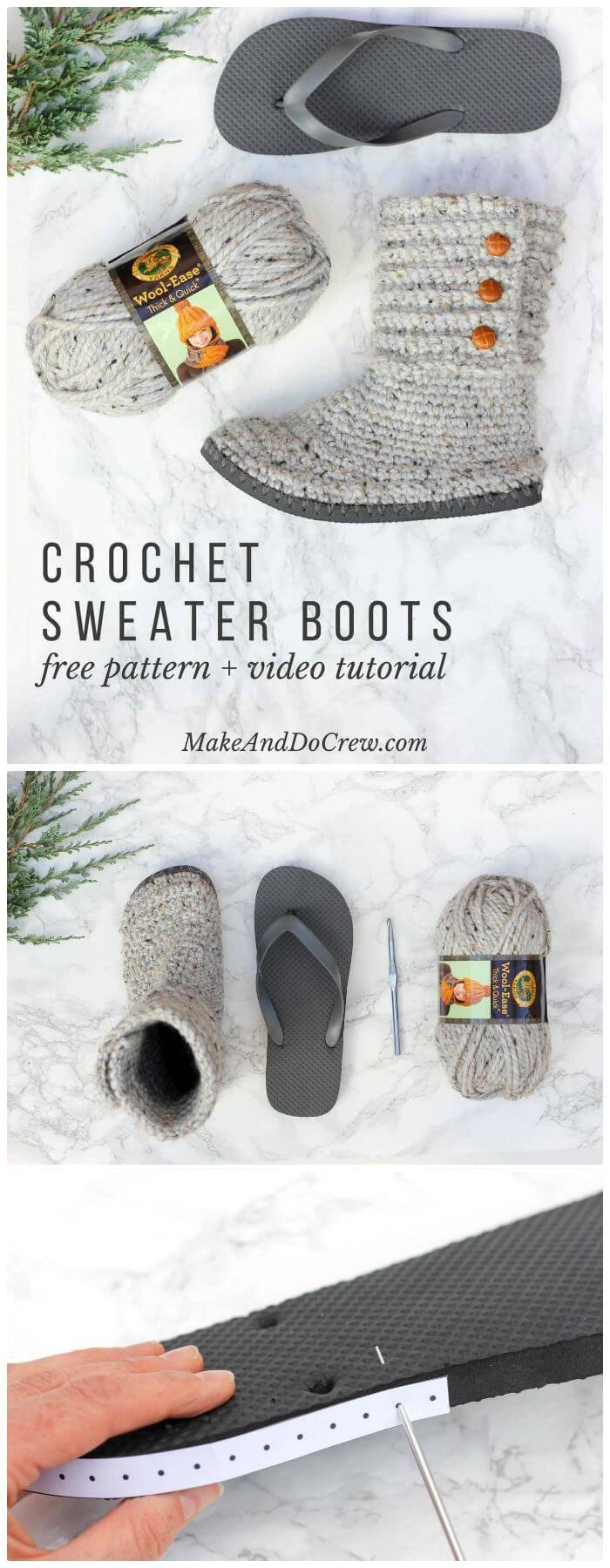 DIY Crochet Boots With Flip Flops - Free Pattern, flip flop boots crochet free pattern