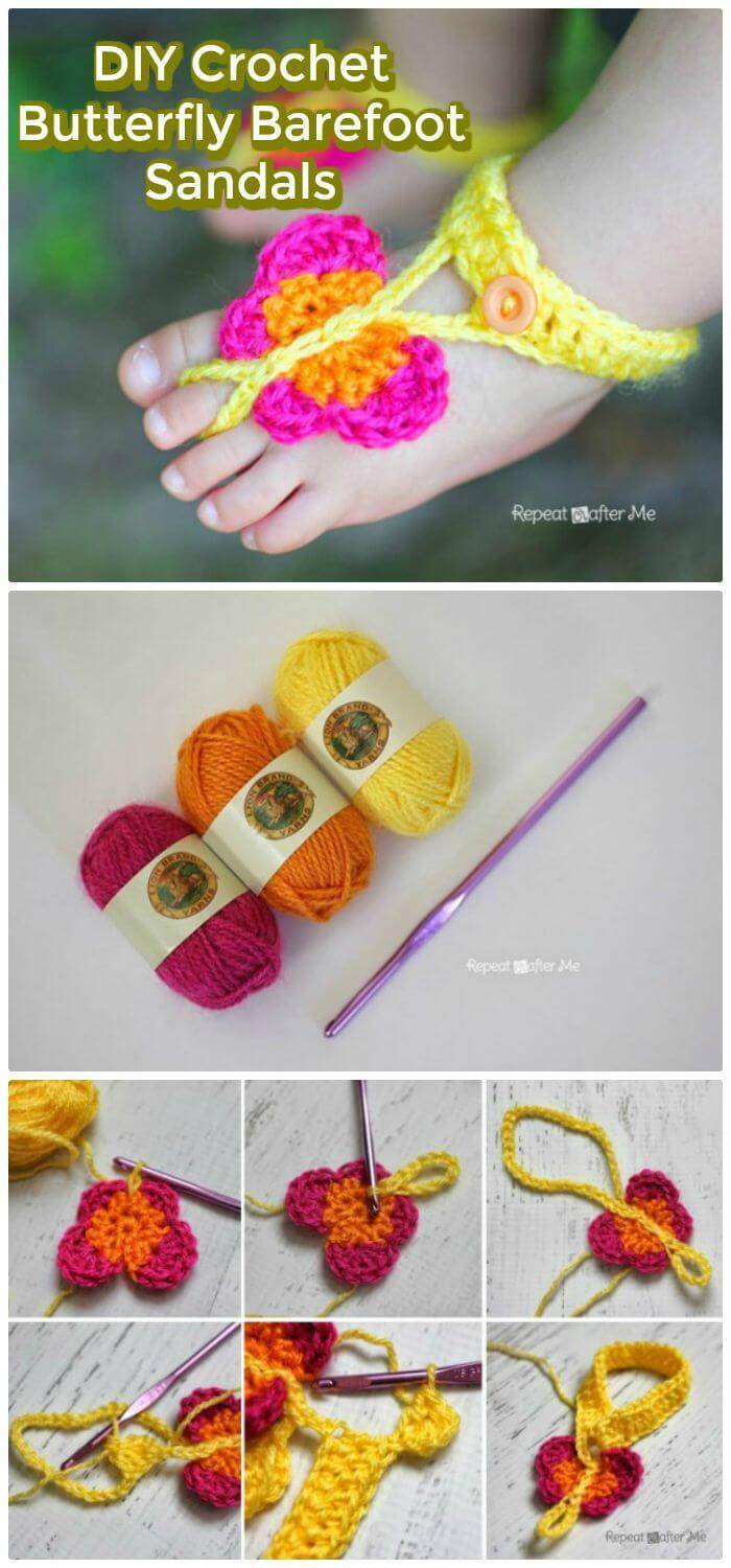 DIY Crochet Butterfly Barefoot Sandals, Easy flip flop slippers crochet instructions
