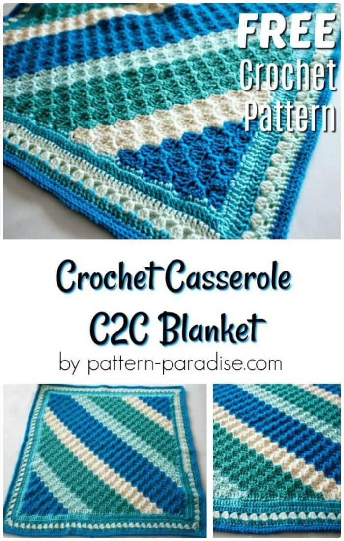 DIY Crochet Casserole C2C Blanket, easy guides for c2c crocheting!