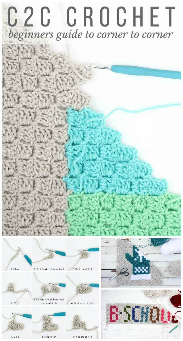 DIY Crochet Corner To Corner Crochet (C2C) For Beginners, diy corner-to-corner crochet guides!