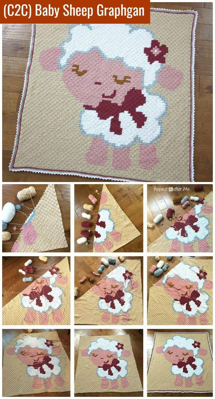DIY Crochet Corner to Corner (C2C) Baby Sheep Graphgan, diy tutorials for how to c2c crochet!
