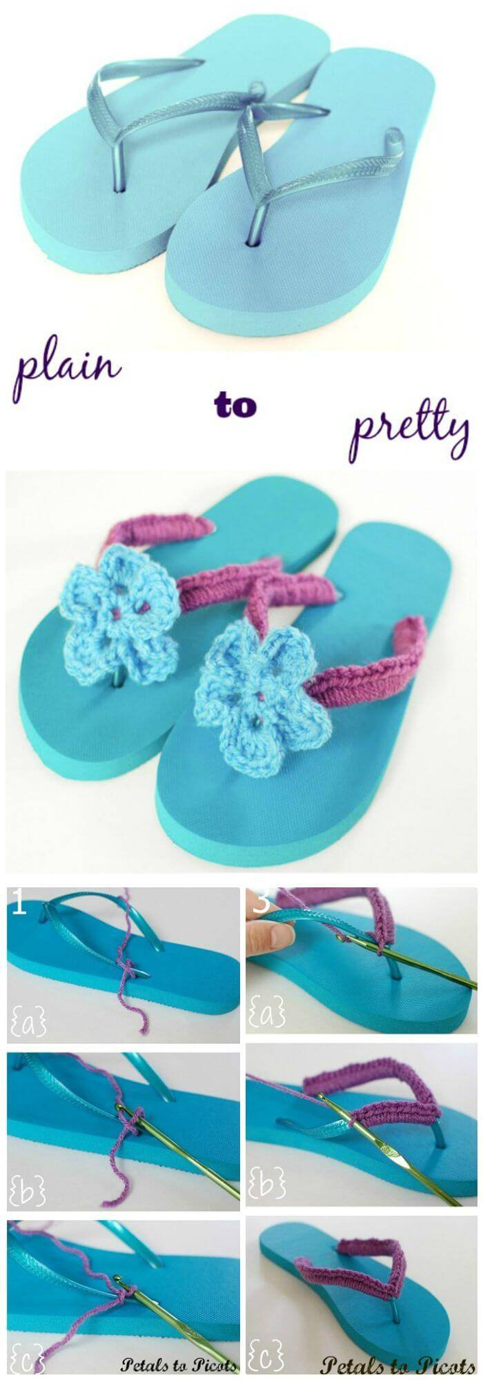 DIY Crochet Flip Flops Tutorial With Flower Pattern, crochet flip flops with free patterns and tutorials