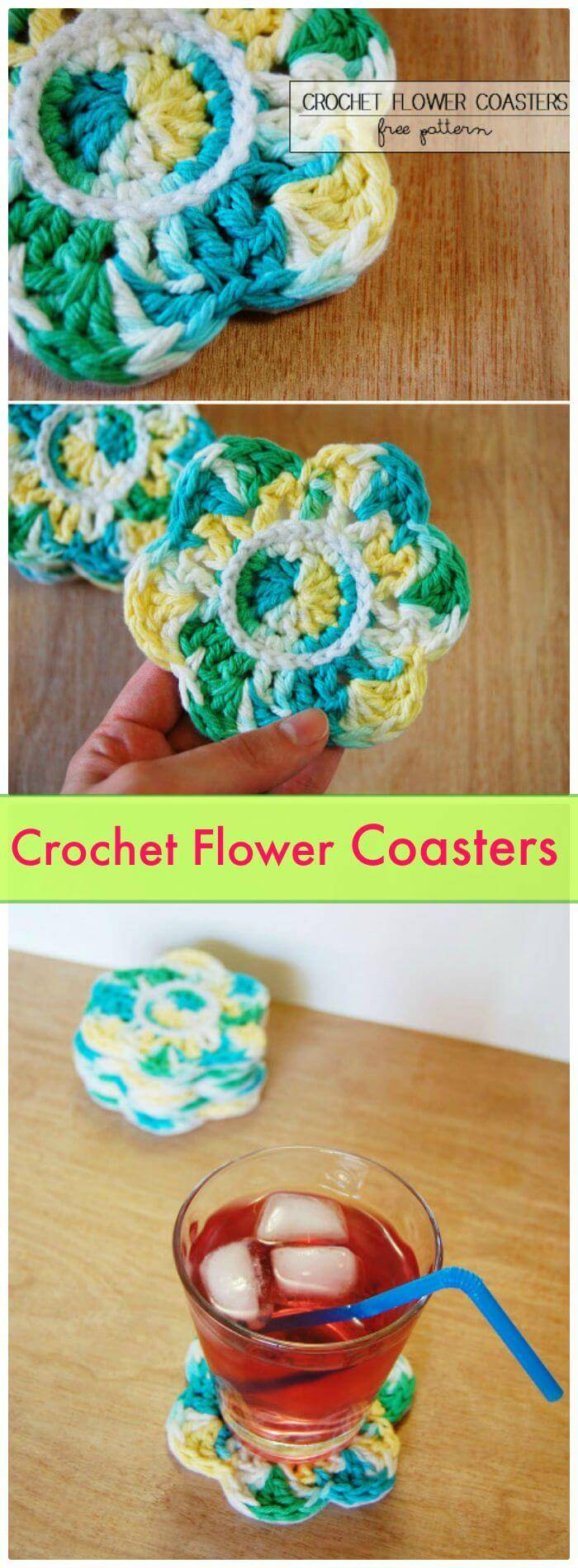 DIY Crochet Flower Coasters, Free crochet coaster patterns with easy tutorials! How to crochet a coaster for beginners!