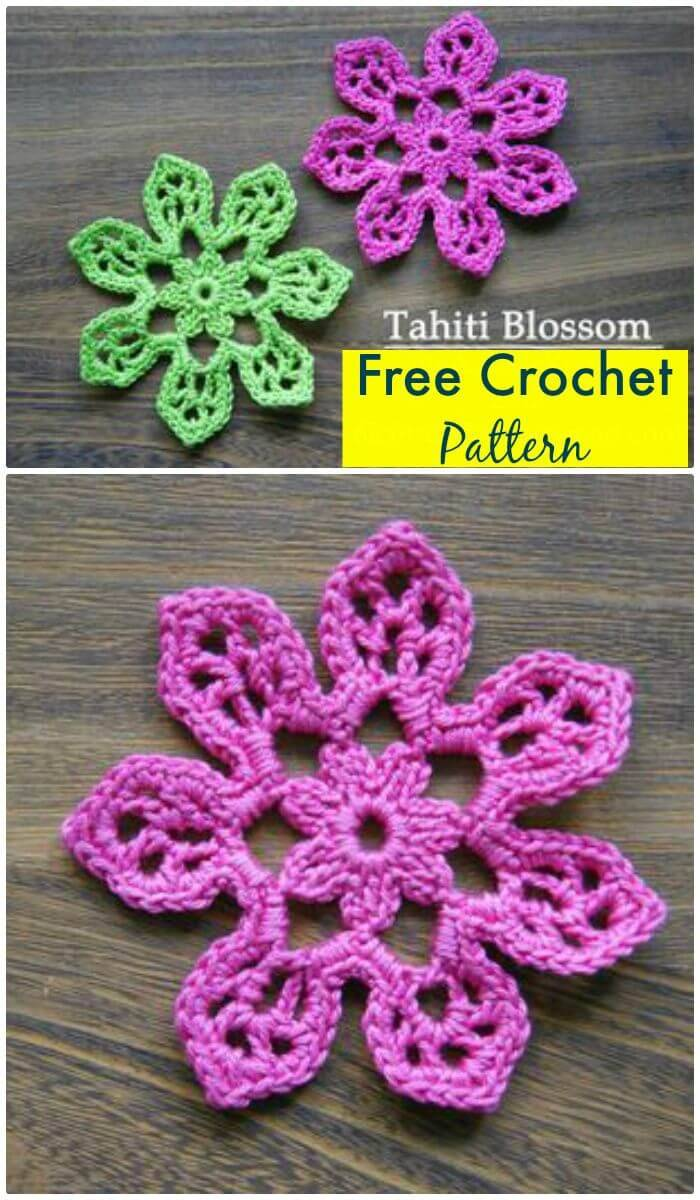 DIY Crochet Flower Free Pattern-Tahiti Blossom, Easy crochet flowers for beginners with free patterns!