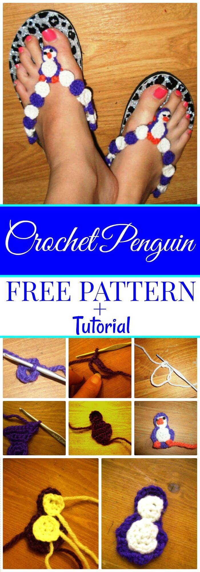 DIY Crochet Penguin Flip Flops baby flip flops crochet pattern for free