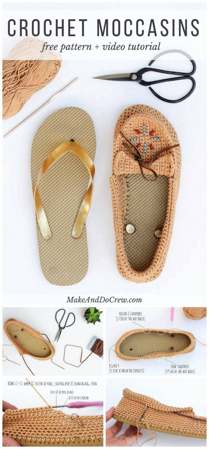 DIY Crochet Shoes With Flip Flop Soles - Free Moccasin Pattern, crochet flip flops into shoes free pattern