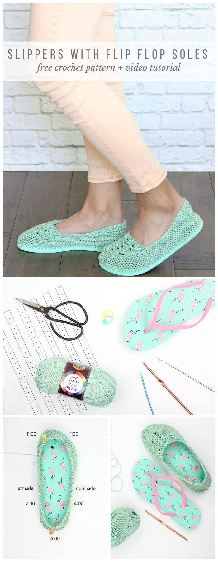 DIY Crochet Slippers with Flip Flop Soles -- Free Pattern, crochet slipper using flip flop sole pattern