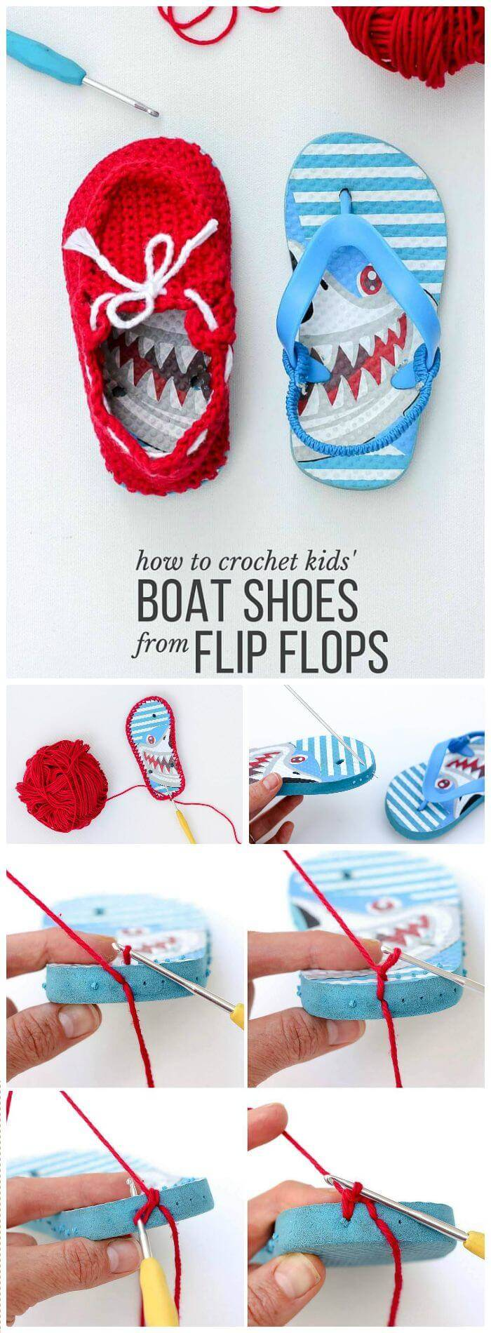 "DIY Crochet Toddler ""Boat Shoe"" Slippers With Flip Flop Soles Free Pattern, flip flop slippers crochet instructions"