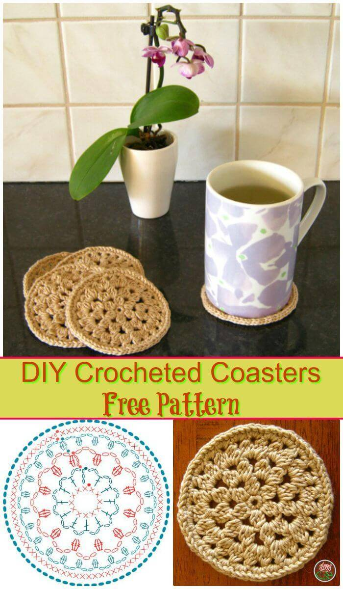 DIY Crocheted Coasters Free Pattern, Free crochet coasters tutorials step-by-step!!
