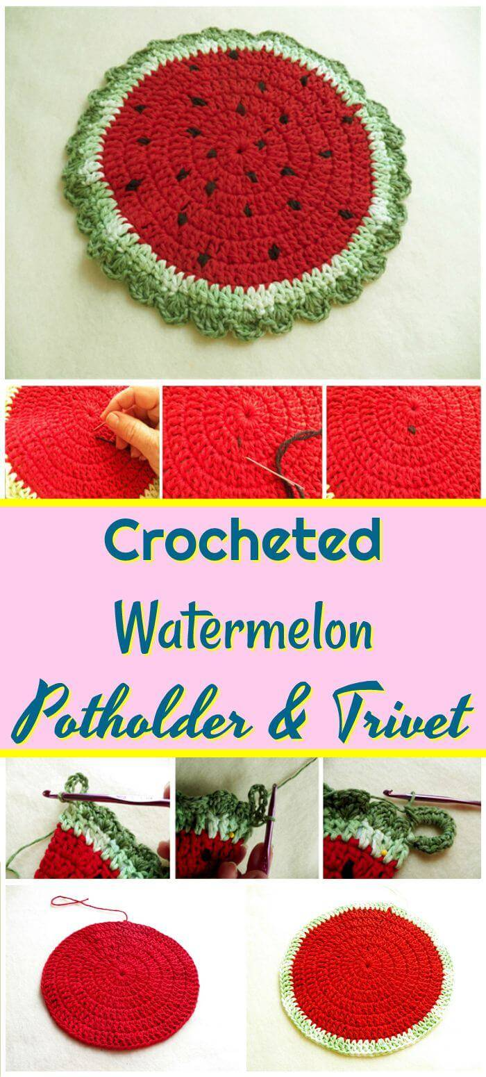 DIY Crocheted Watermelon Potholder And Trivet, Free easy crochet coaster patterns for crochet lovers!