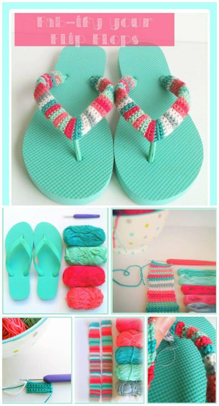 DIY Cute & Easy Fab-Ify Your Flip Flops, flip flop slippers crochet instructions and free patterns