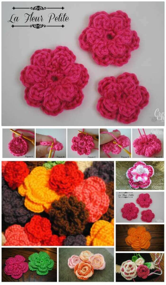 DIY Cute Free Crochet Flower Pattern, Easy crochet flower tutorials for beginners!