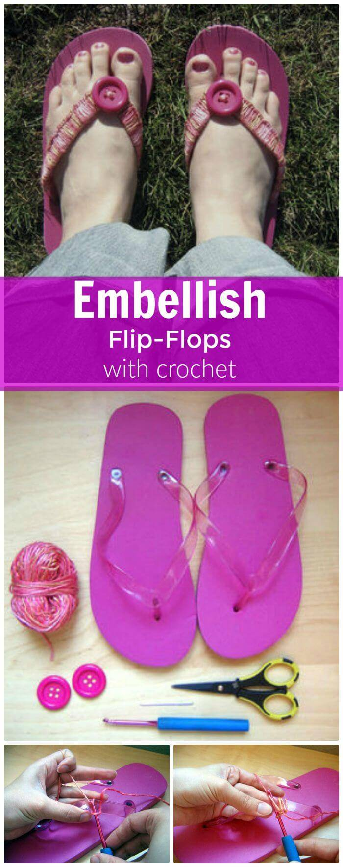 DIY Embellish Flip-Flops With Crochet, crochet flip flop slippers with step-by-step instructions