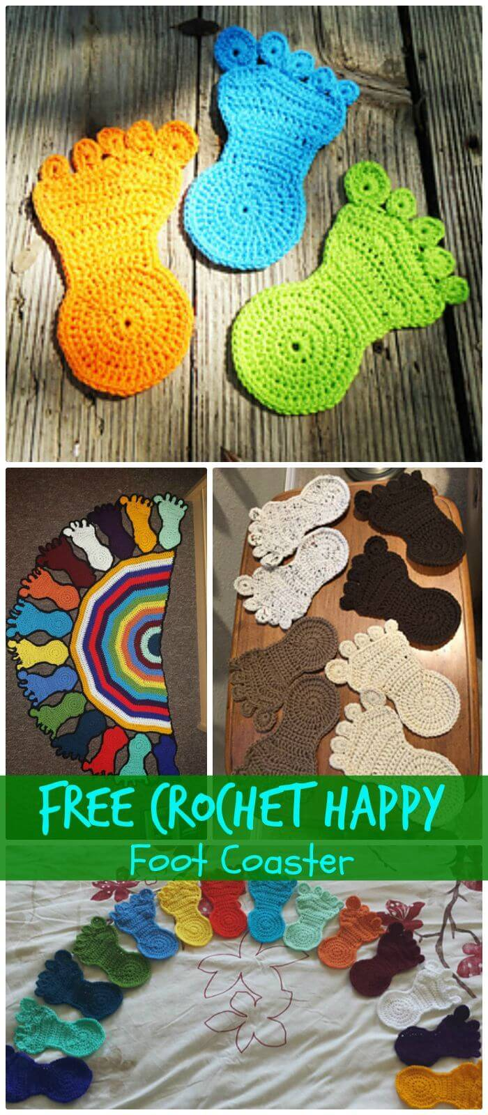 DIY Free Crochet Happy Foot Coaster, How to crochet a coaster for beginners!