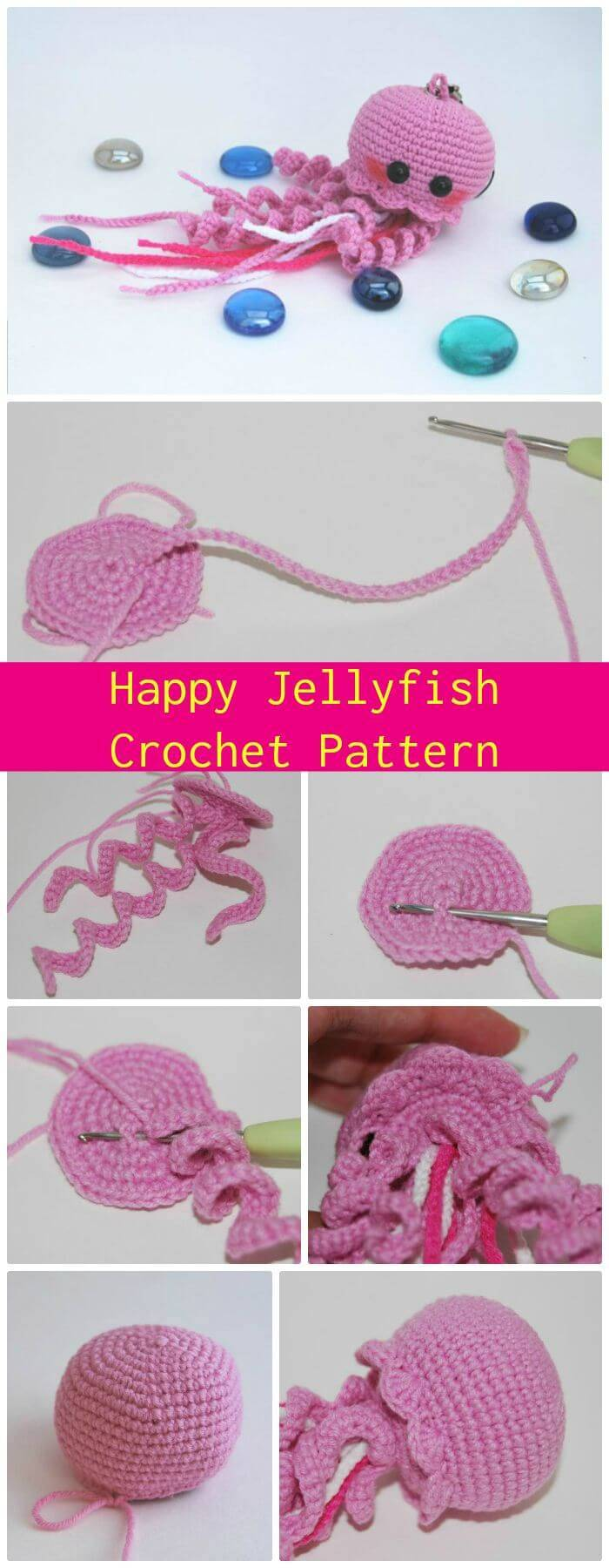 DIY Happy Jellyfish Amigurumi Crochet Pattern, free and easy crochet jellyfish patterns