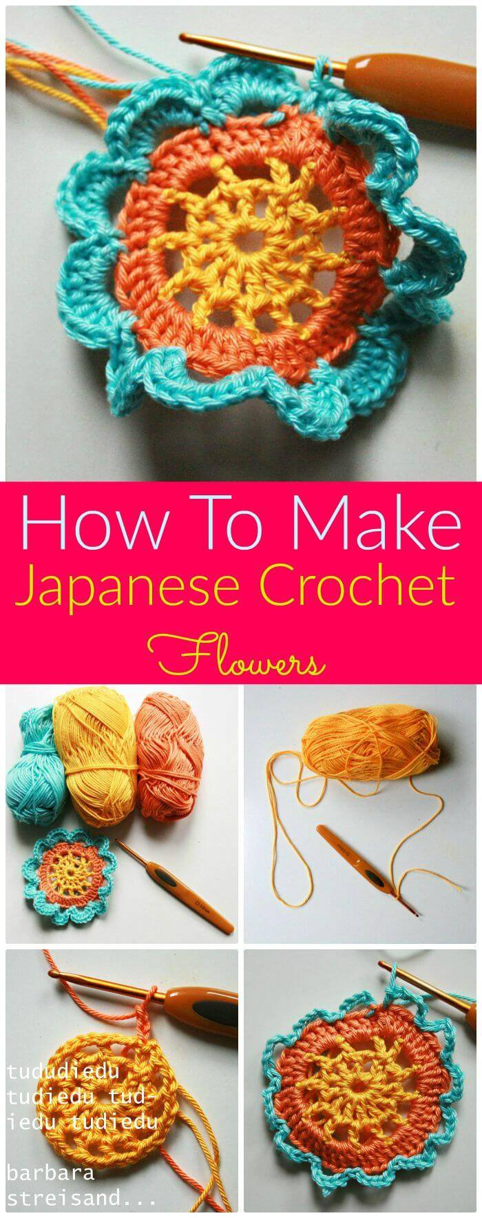 DIY Japanese Crochet Flowers-Free Crochet Pattern, Super easy and free crochet flower patterns! Easy crochet flower tutorials for beginners!