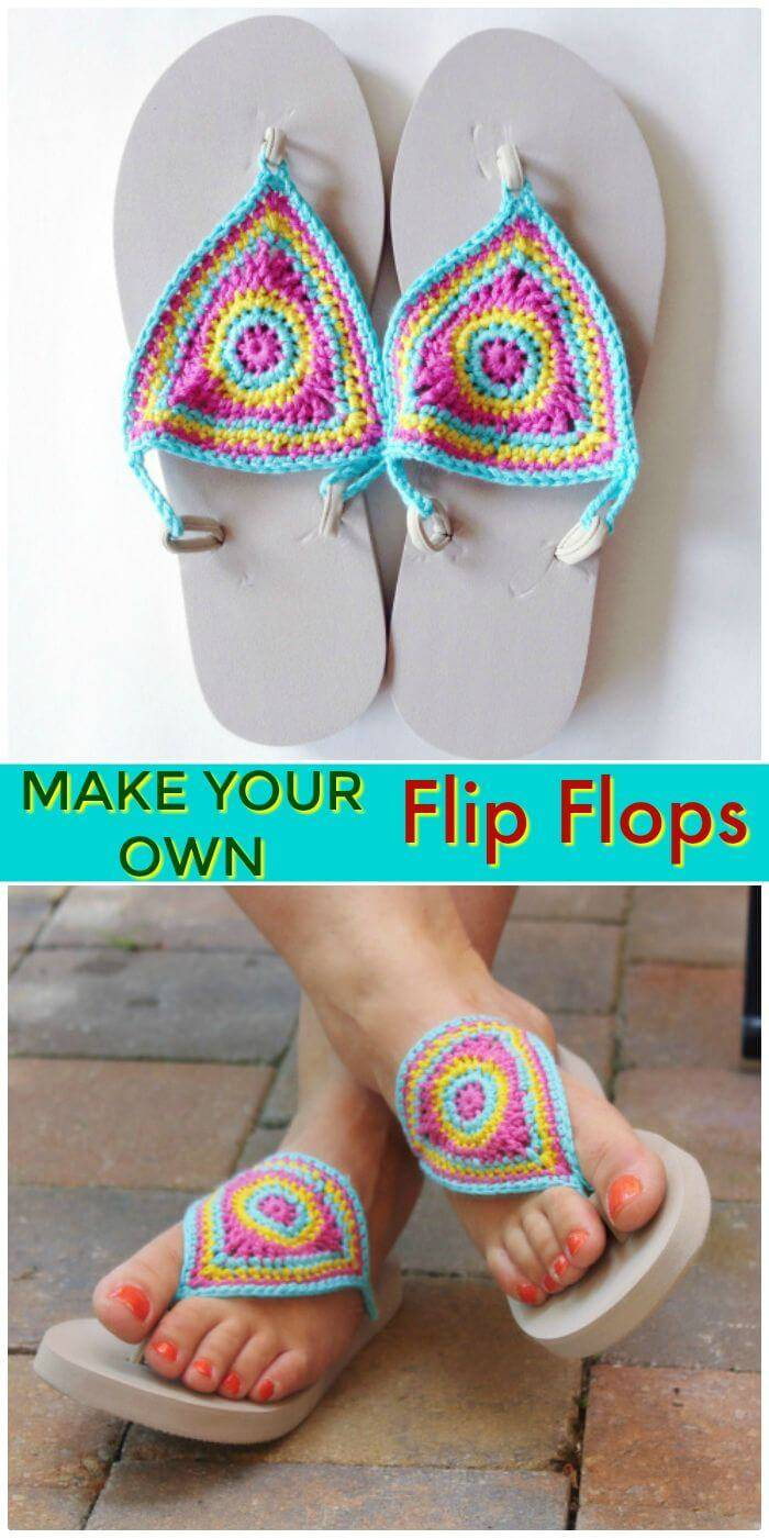 DIY Make Your Own Crochet Flip Flop, crochet flip flop slippers tutorials