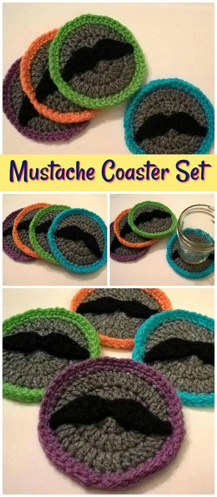 70 easy free crochet coaster patterns for beginners page 6 of 14 diy mustache coaster set free crochet pattern quick and easy crochet coasters with complete bankloansurffo Gallery