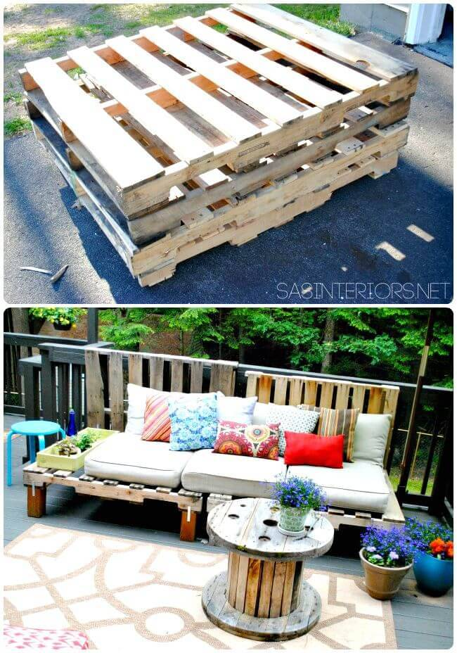 Easy to Make Outdoor Pallet Sofa - DIY Pallet Sitting Furniture Projects