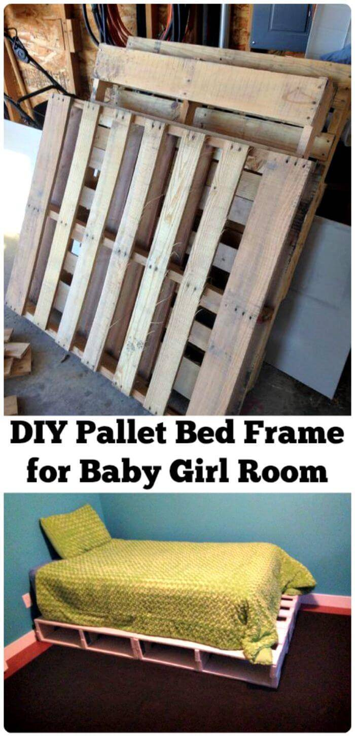Wooden Pallet Bed Built for Baby Bedroom - Wooden Pallet Furniture Ideas