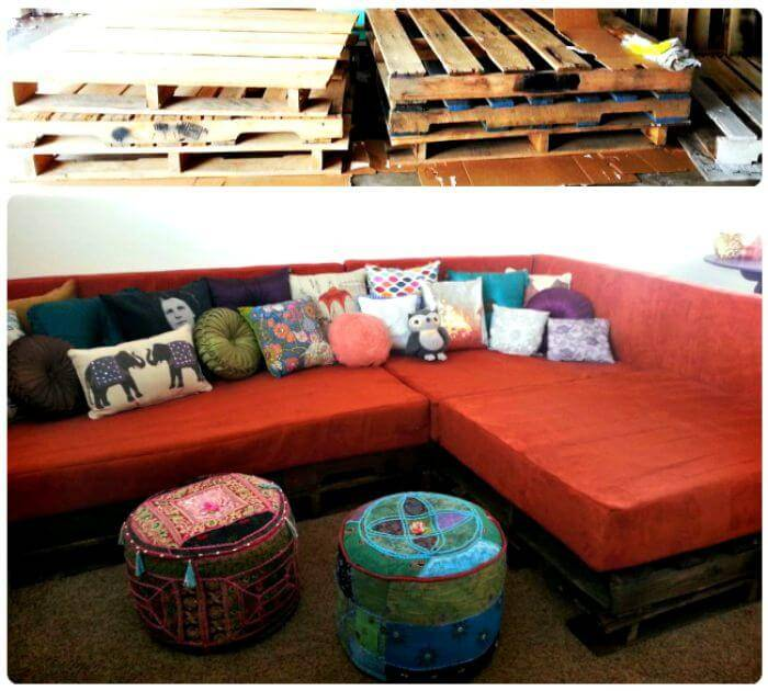 Wooden Pallet L-shape Couch - Pallet Sofa Projects