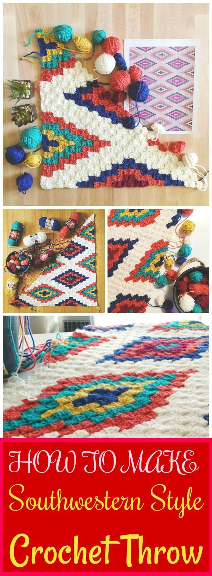 DIY Southwestern Style Crochet Throw, DIY c2c crochet techniques and instruciotns