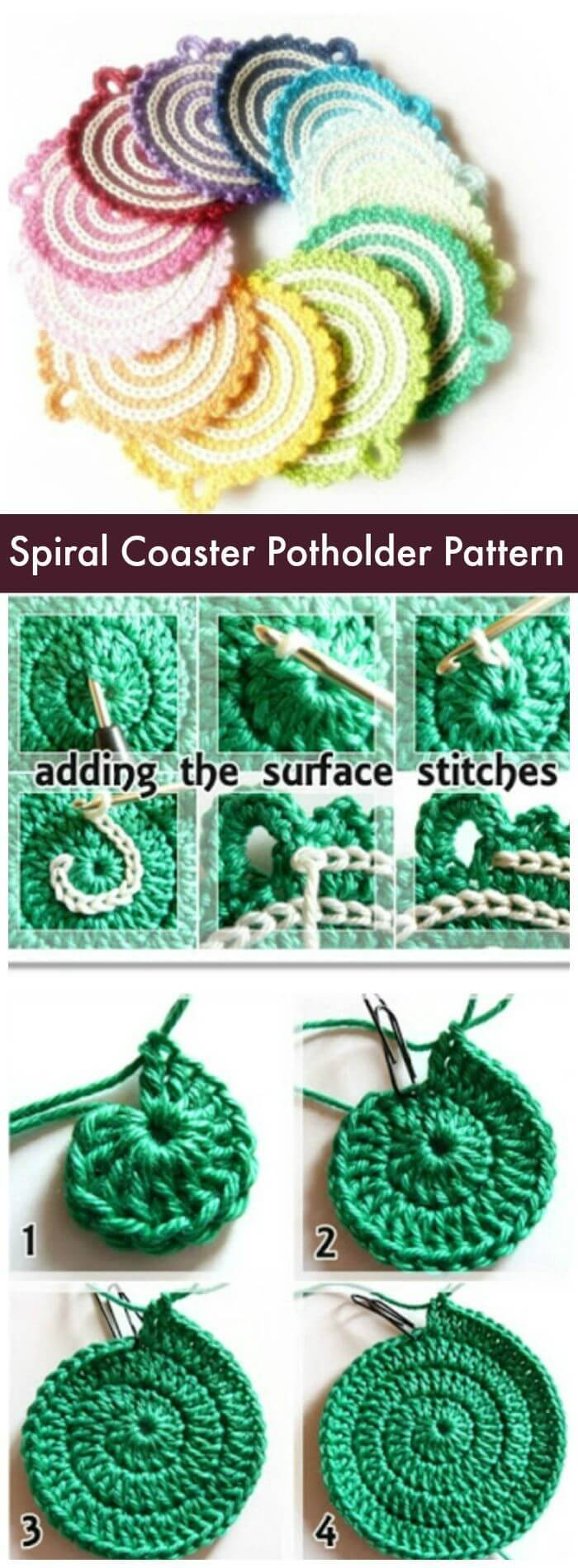 70 easy free crochet coaster patterns for beginners page 11 of diy spiral coaster potholder pattern free crochet coaster patterns with easy tutorials how to bankloansurffo Images