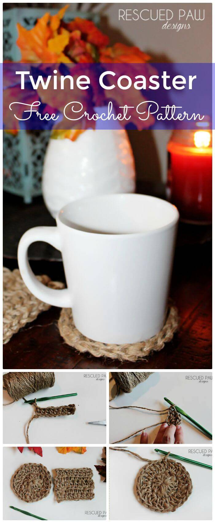 DIY Twine Coaster Crochet Pattern-Free Crochet Pattern, Simple crochet coaster free patterns!