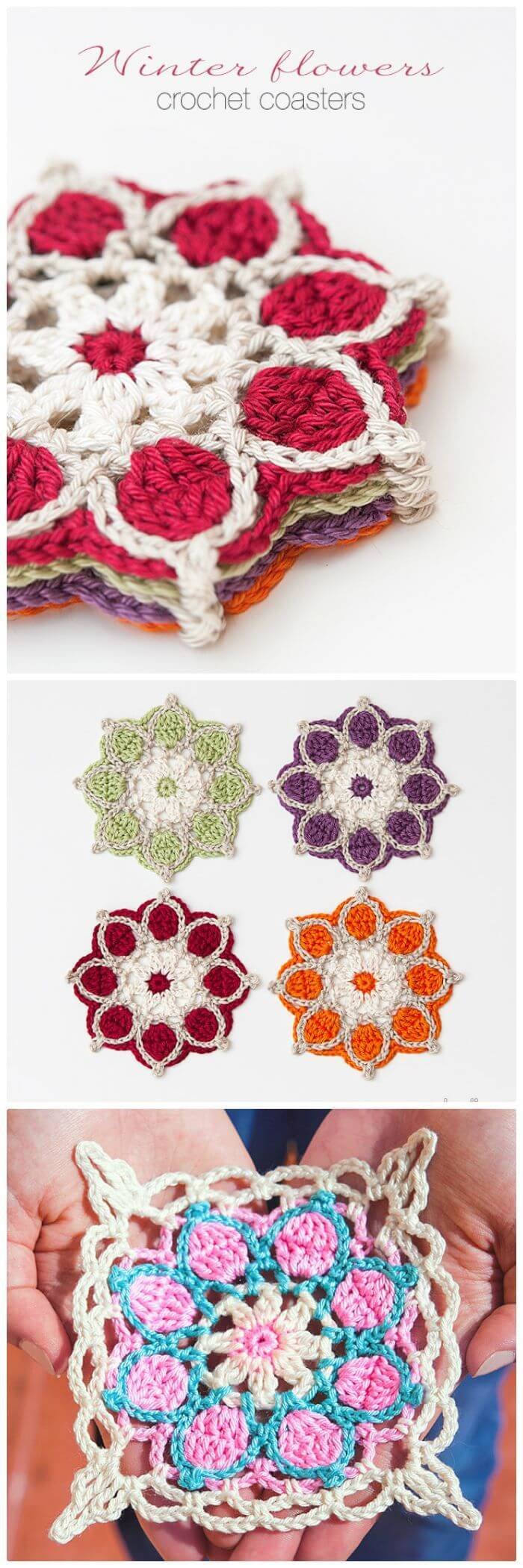 DIY Winter Flowers Crochet Coasters-Free Crochet Pattern, How to crochet a coaster step-by-step!