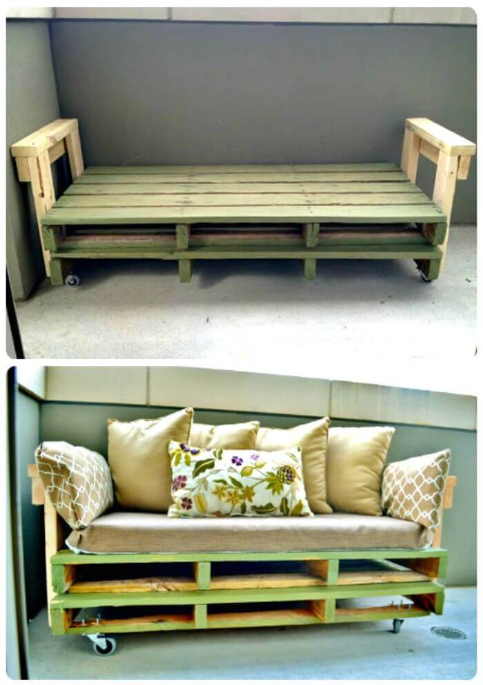 Repurposed Pallet Sofa - Wooden Pallet Sitting Furniture Projects